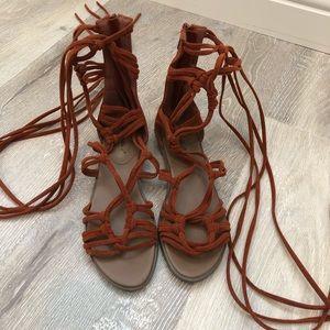 Brown, suede, gladiator sandals.